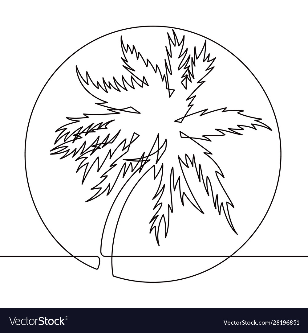 Black and white palm tree one line icon