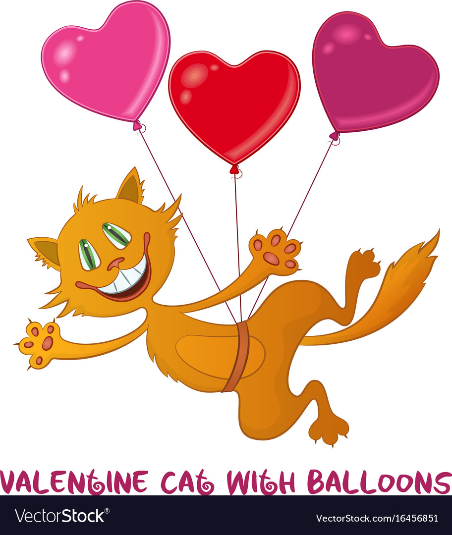 Cat with valentine heart balloons