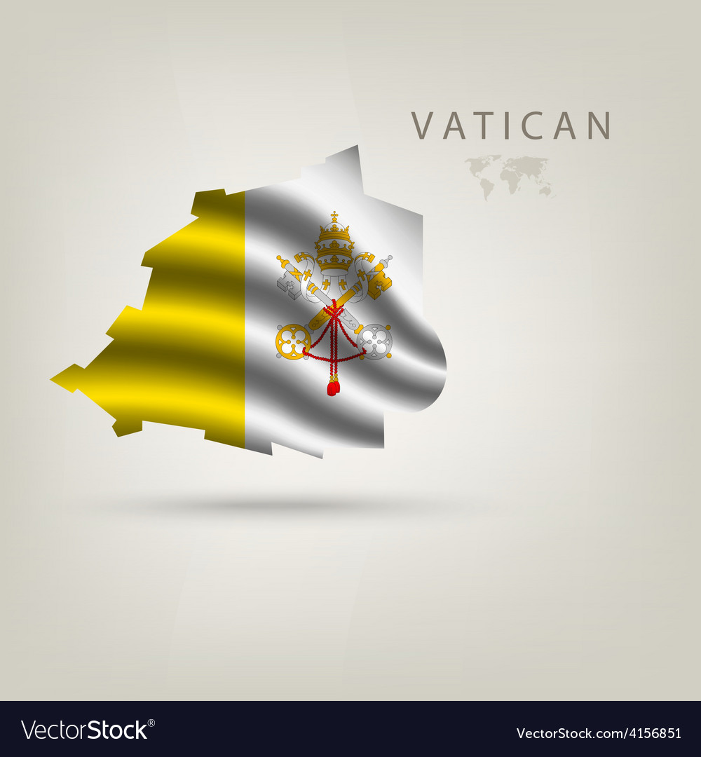Flag of VATICAN as a country with a shadow