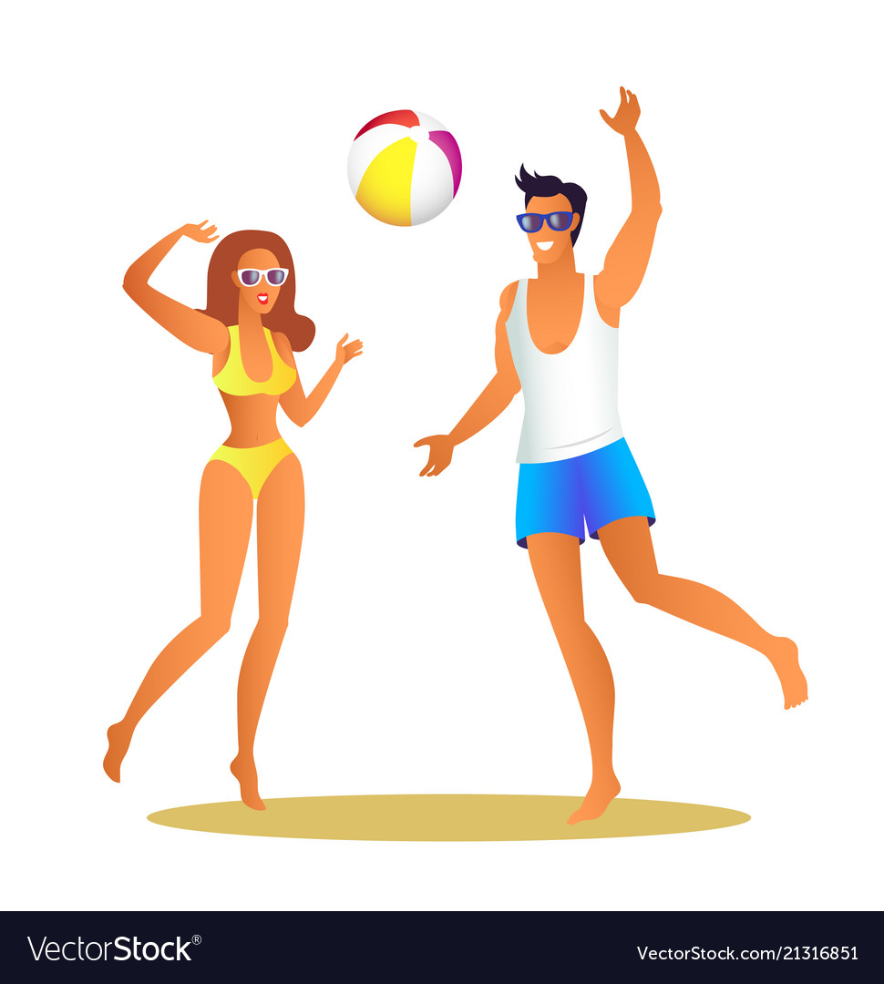 Man and woman in swimwear play volleyball on beach