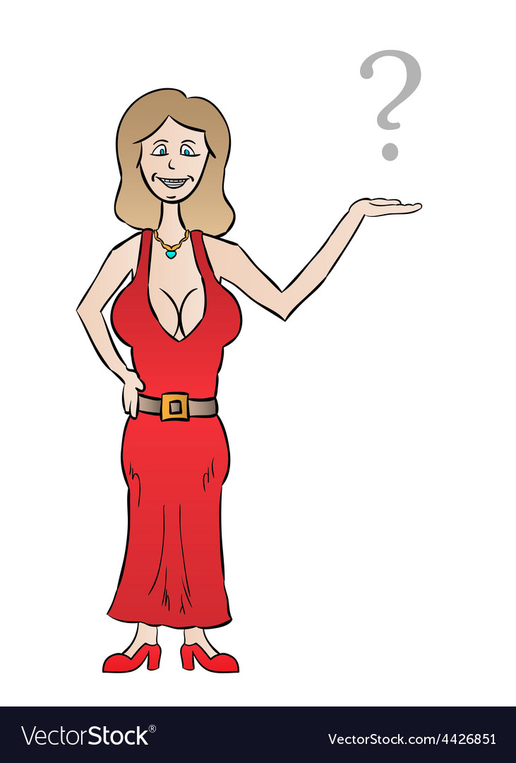 Nice dressed woman with big tits and question mark vector image