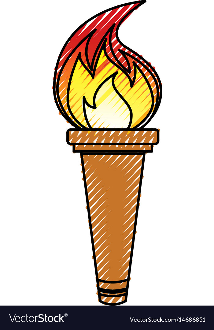 Olympic torch isolated icon