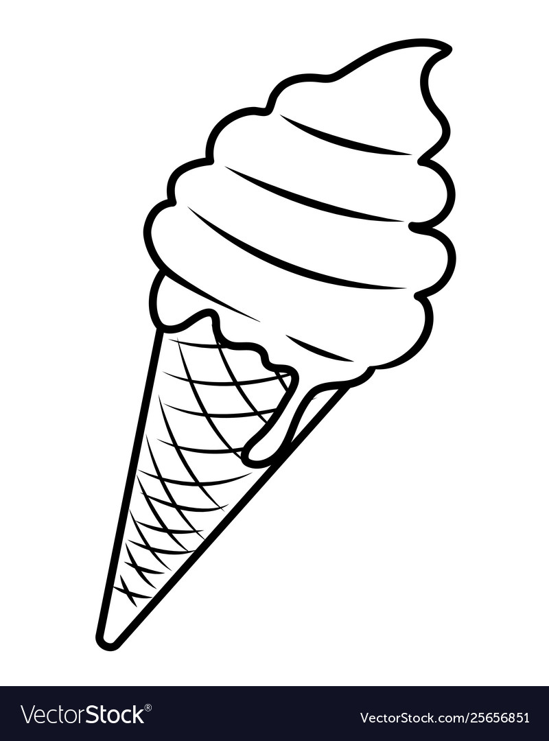 pop art ice cream cartoon in black and white vector image vectorstock