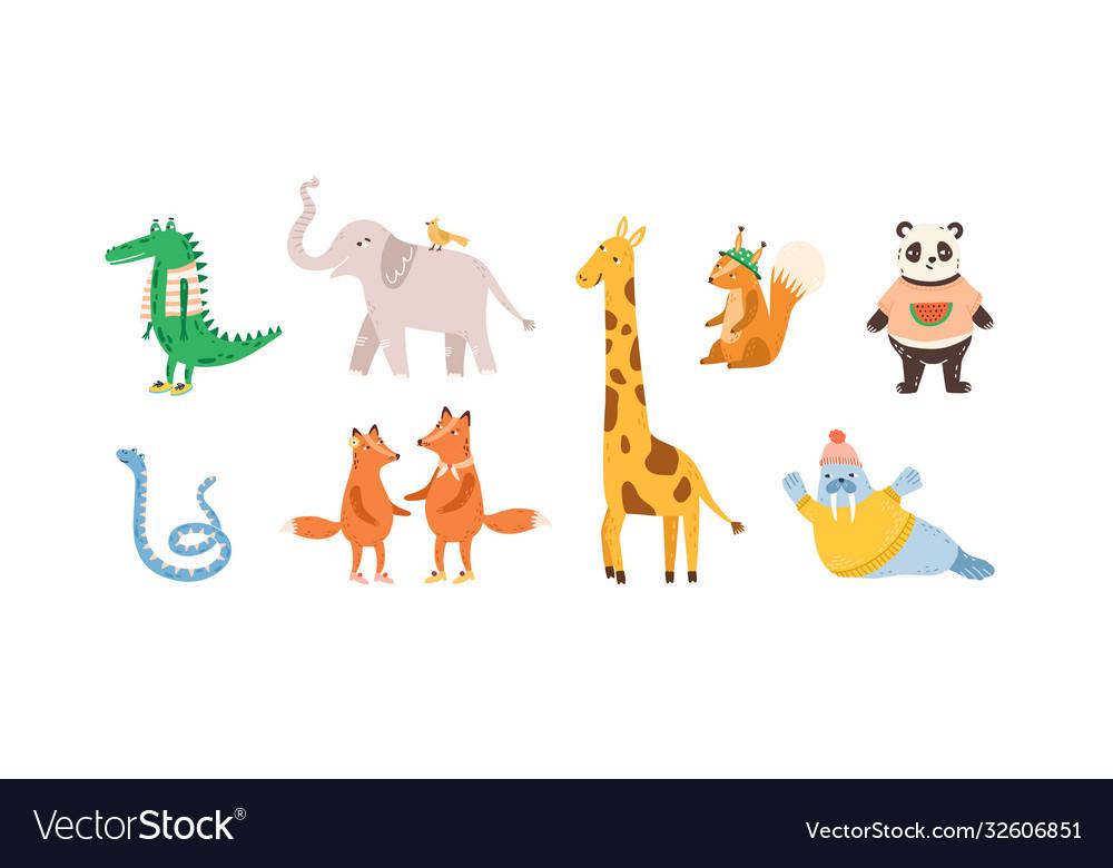 Set childish cute animal characters design