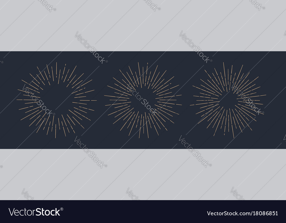 Set of sunburst vintage graphic elements