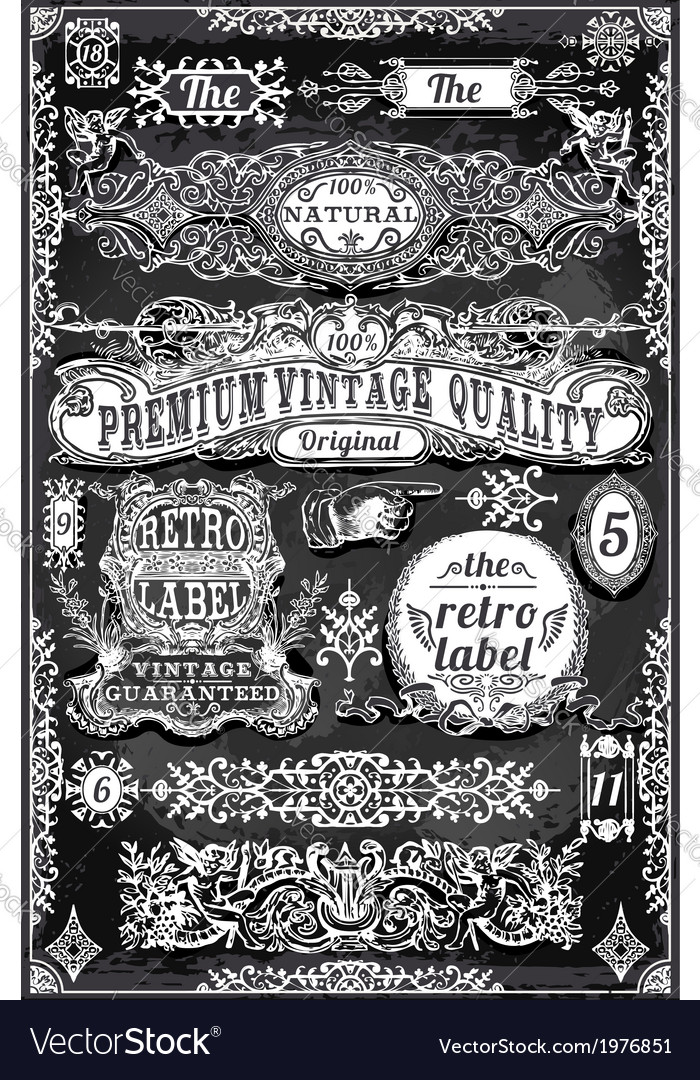 Vintage Hand Drawn Banners and Labels on vector image