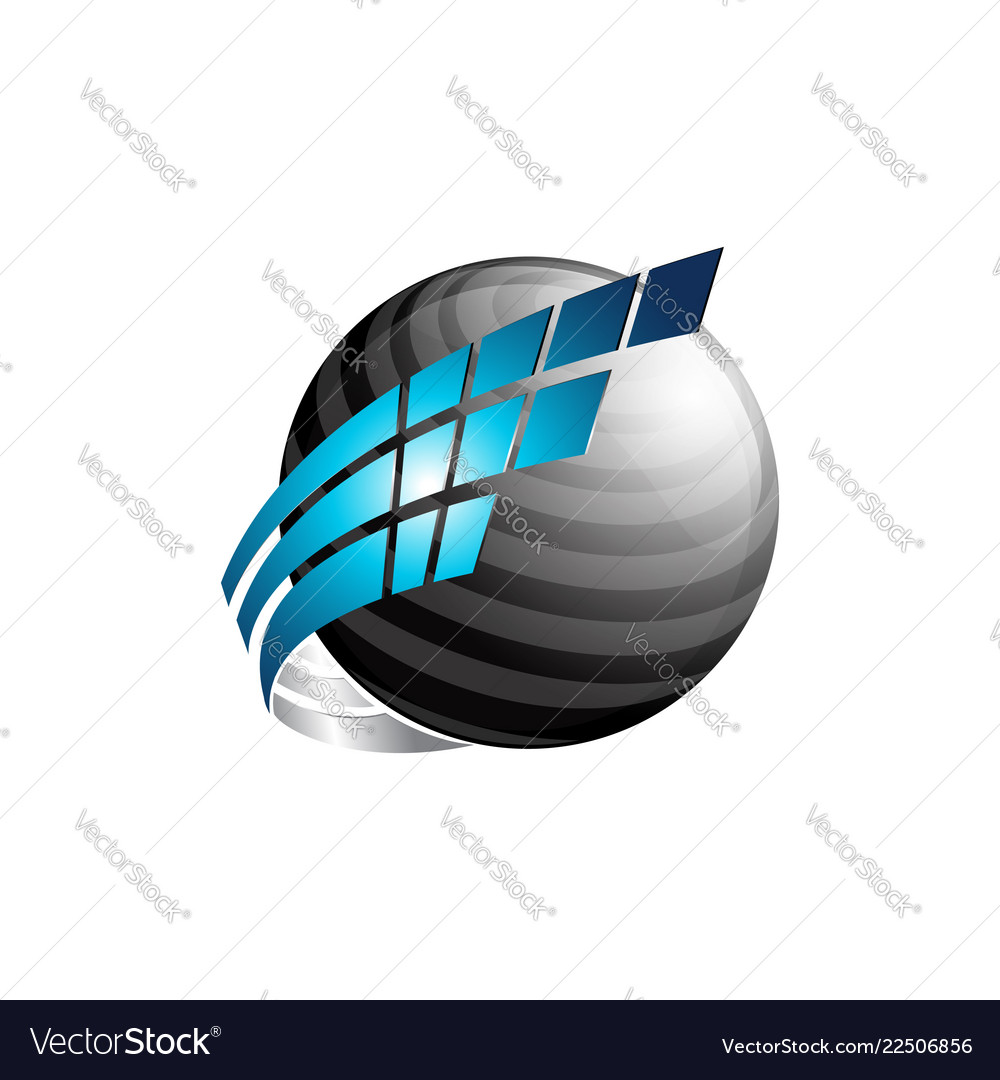 Abstract 3d sphere logo with blue and black color