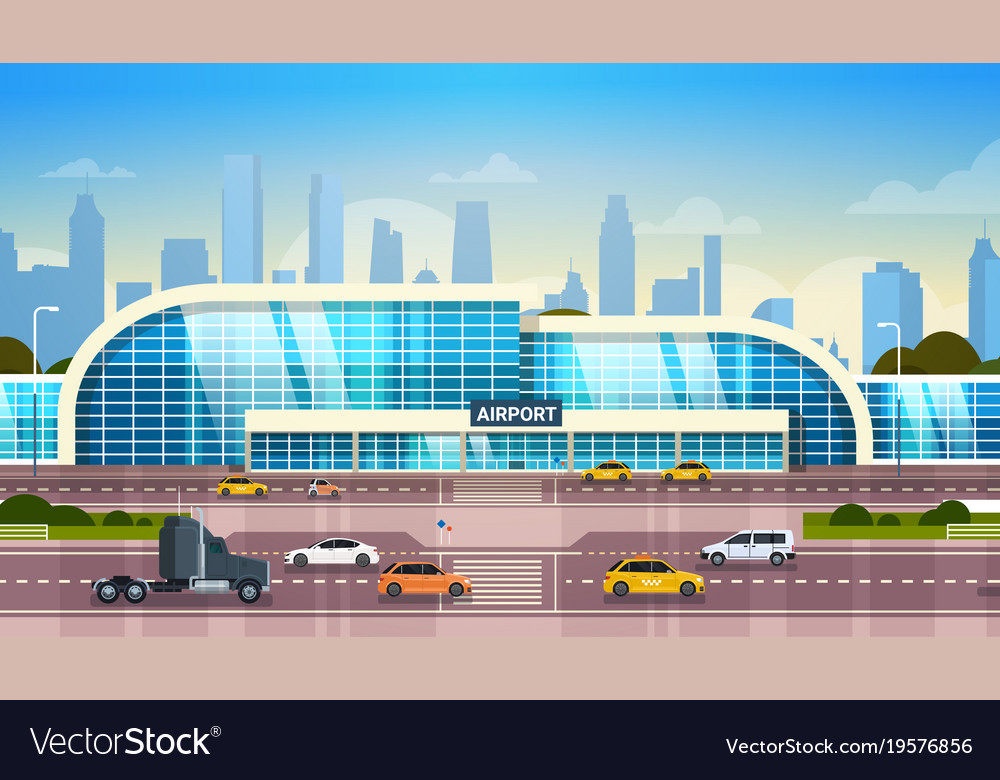 Airport building modern terminal exterior with
