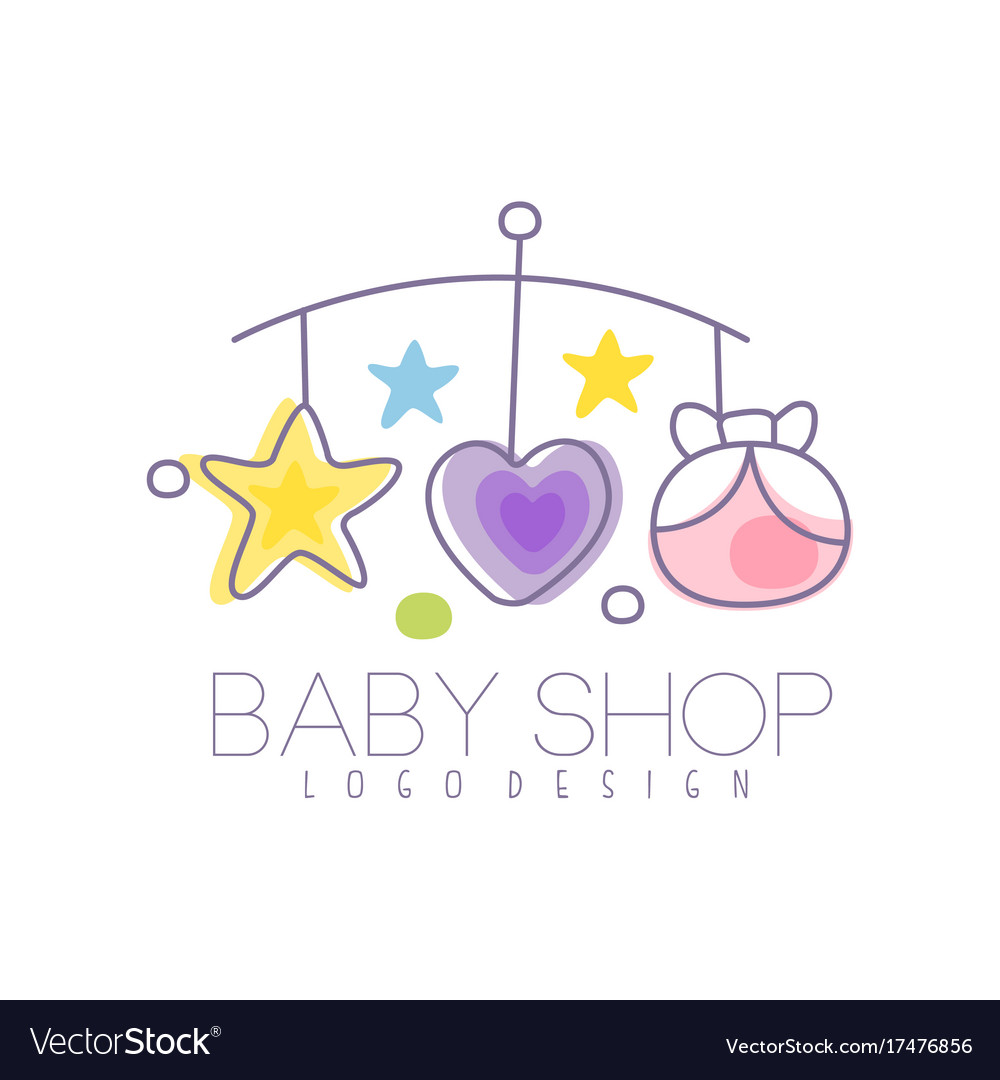 baby care logo design emblem with baby bed vector image