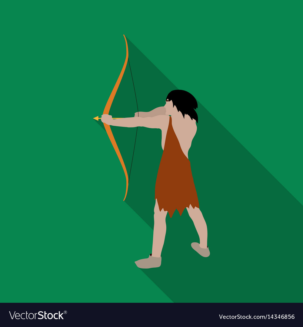 Caveman with bow and arrow icon in flate style