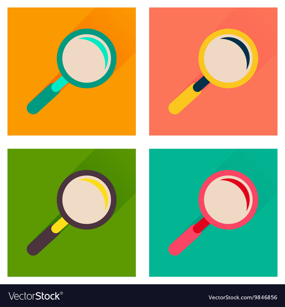 Concept of flat icons with long shadow magnifying