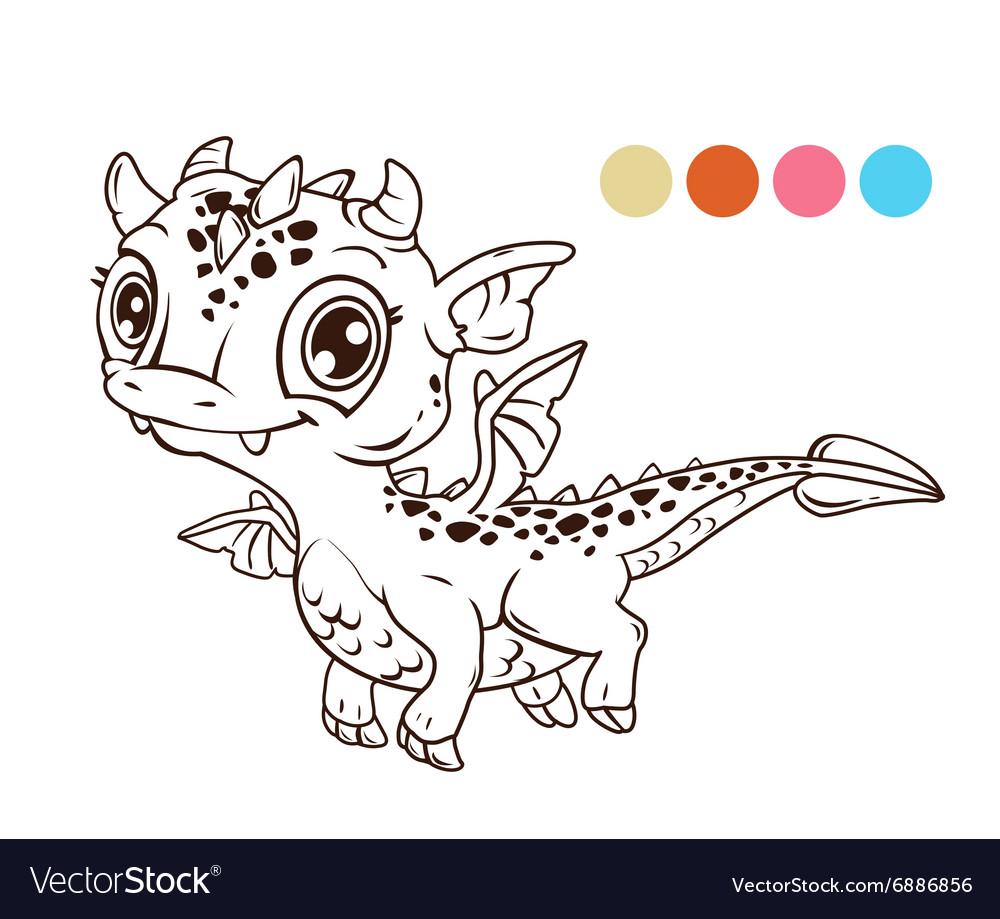 Cute cartoon flying baby dragon