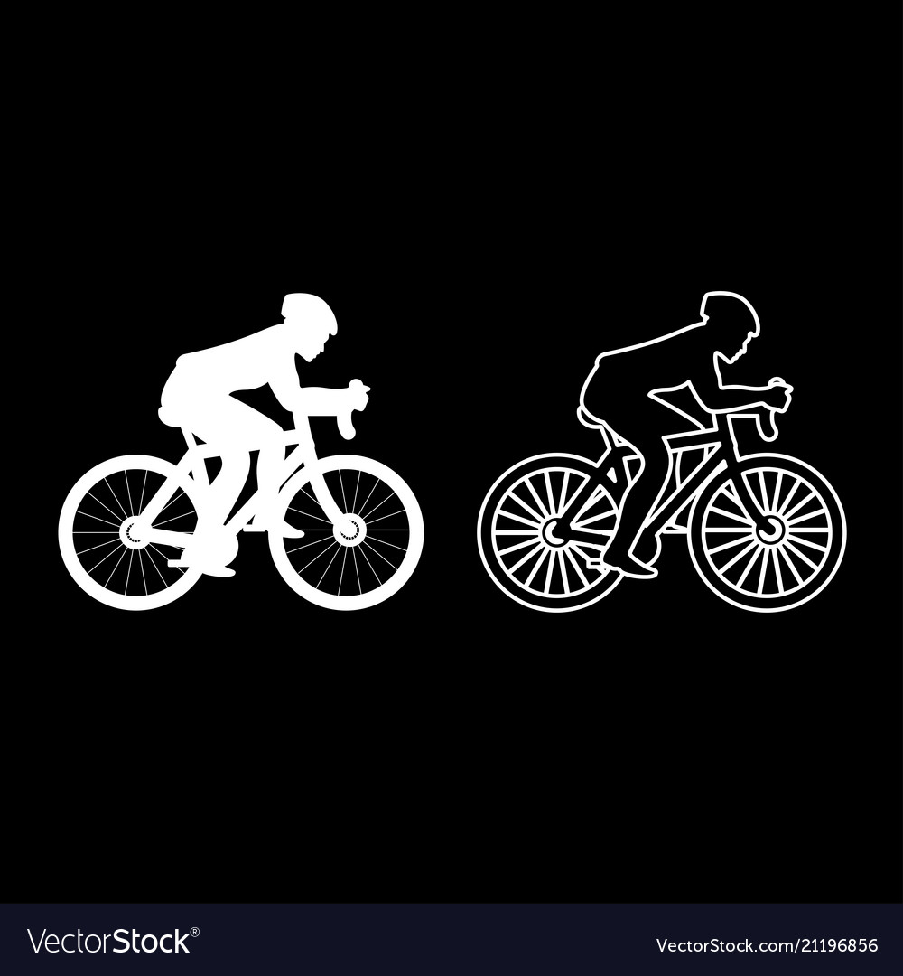 Cyclist on bike silhouette icon set white color