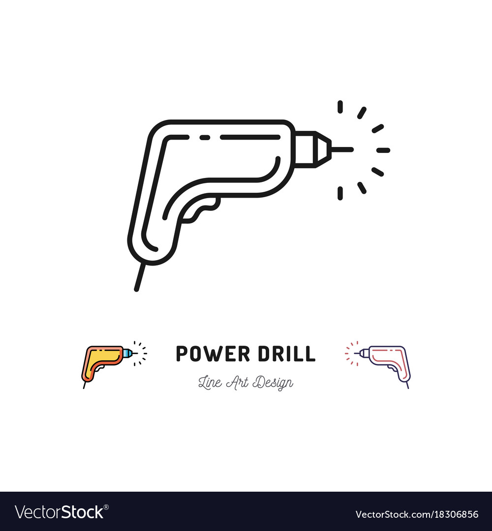 Drill icon power tool outline sign repair home