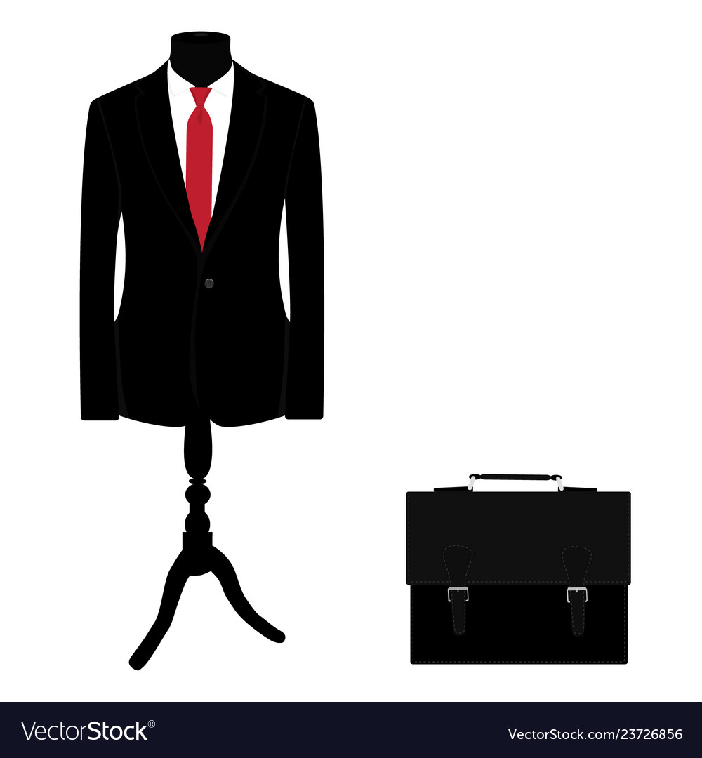 Elegant black suit with red tie and black leather