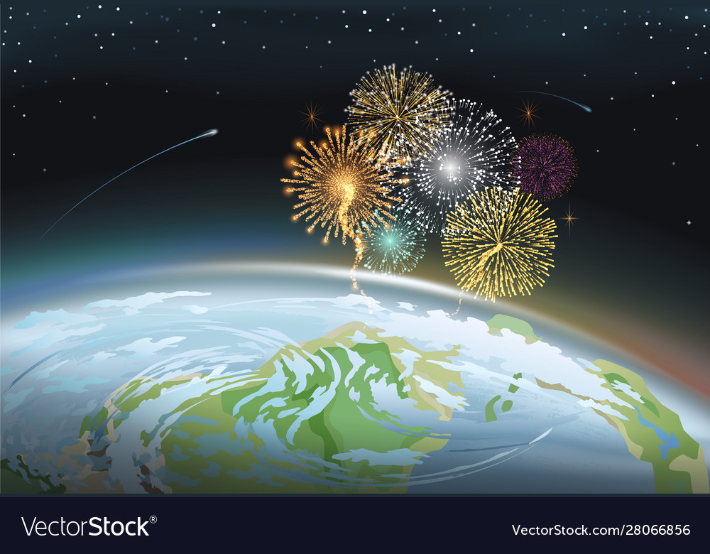 Firework at night sky above planet earth