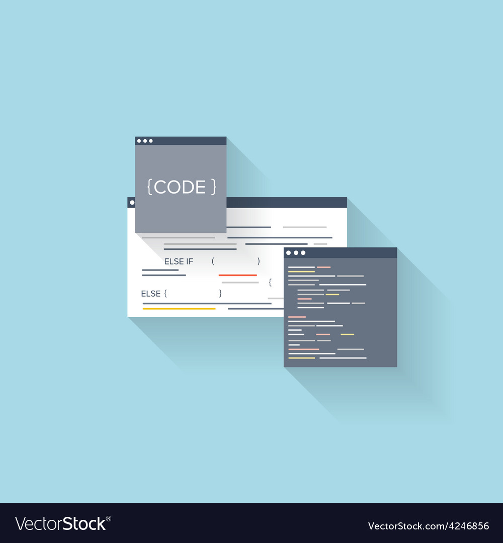 Flat web icon Coding interface windowprogramming