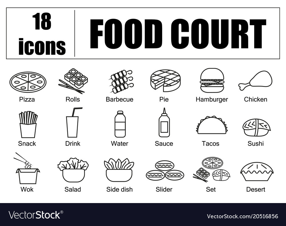Food court set of icons line delivery of