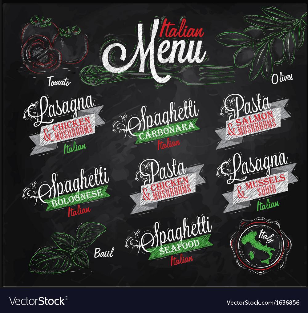 Menu Italian chalk color vector image