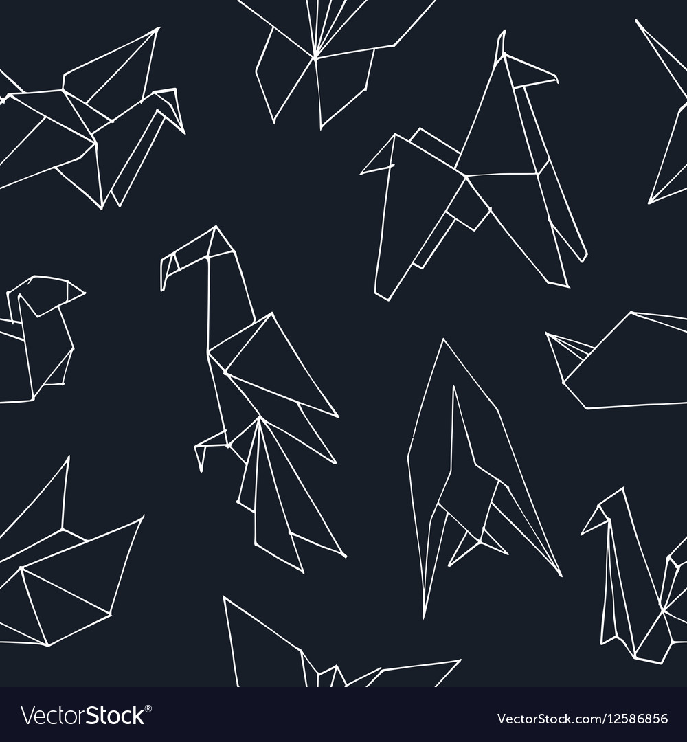 Origami hand drawn doodle seamless pattern