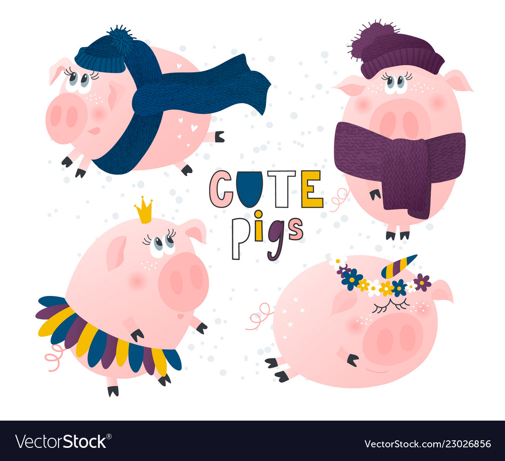 Set of cute pigs pig in a hat and scarfpig