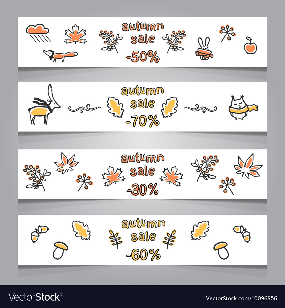 Set of web banners with autumn