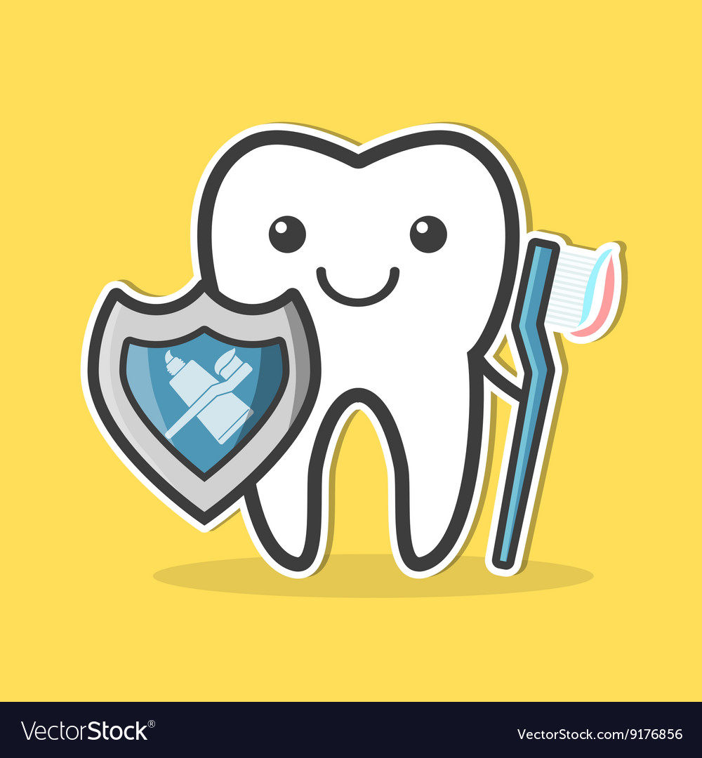 Tooth with shield and toothbrush
