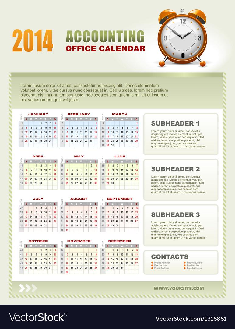 2014 Accounting Office Calendar