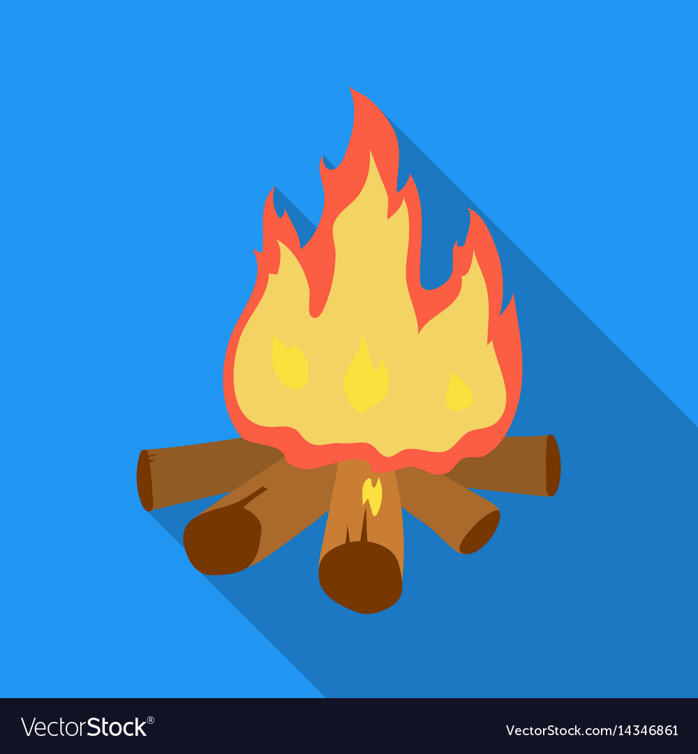 Campfire of stone age icon in flate style isolated vector image