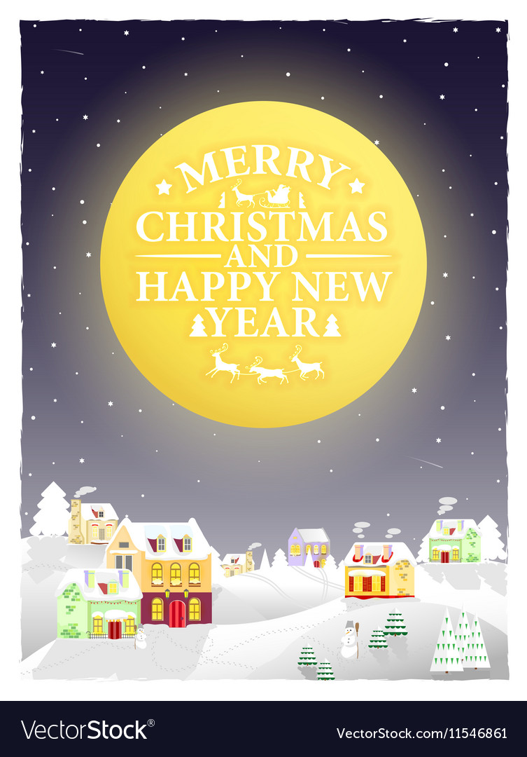 Christmas vintage greeting card on winter