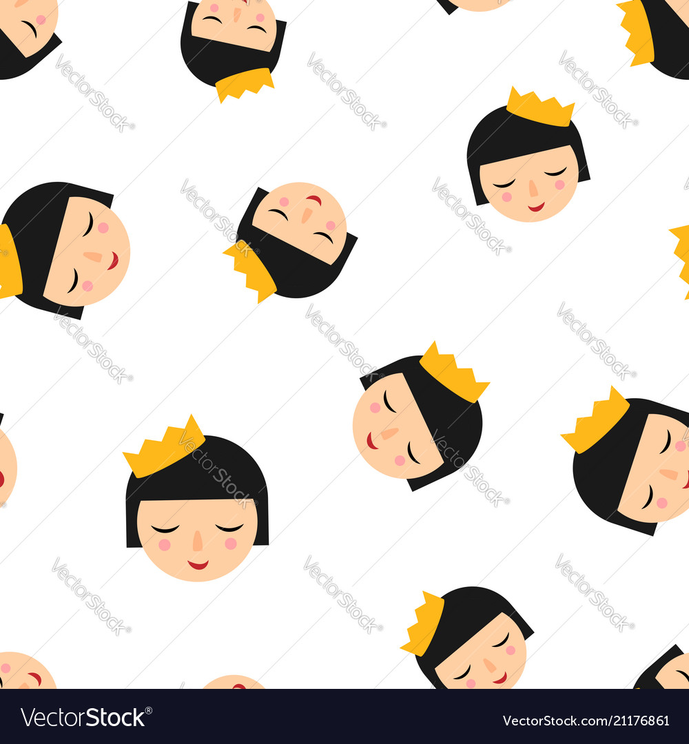 Cute girl icon seamless pattern background