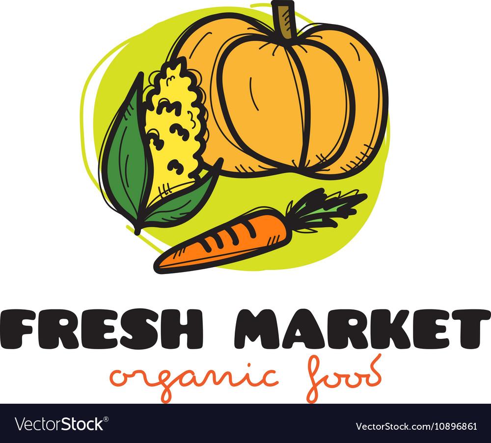 Doodle vegetables market logo