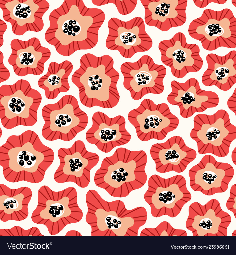 Flowers hand drawn seamless color pattern