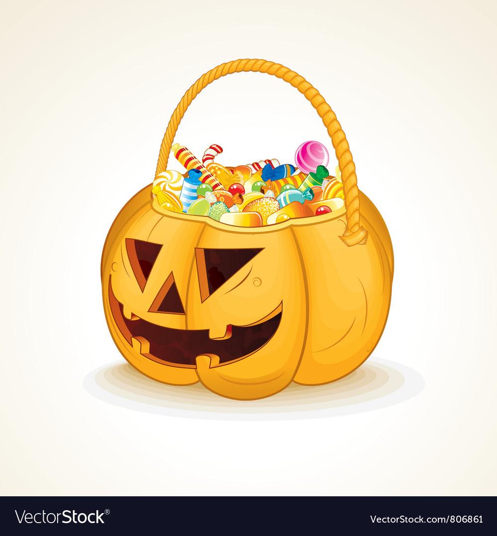 Halloween Pumpkin with Candies vector image