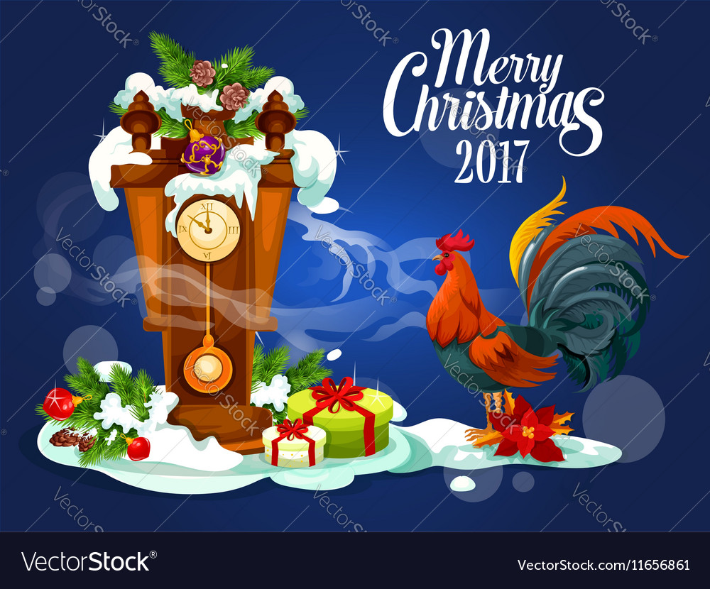 Merry Christmas card with rooster and gift box