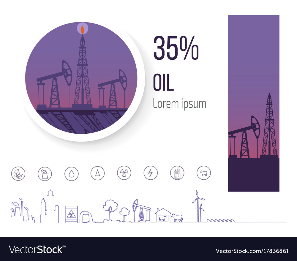 Oil industry 35 percent poster with icons