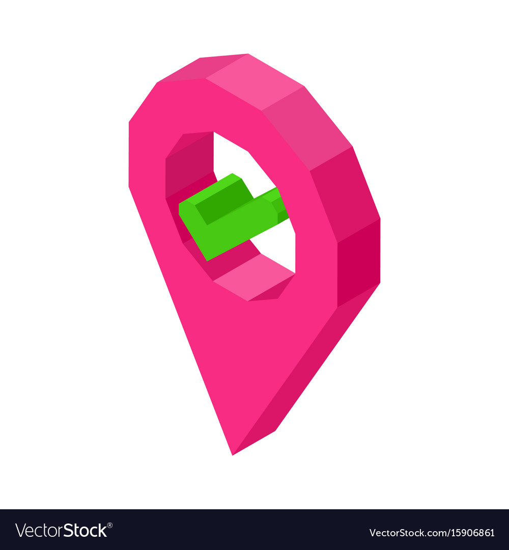 Pink geolocation symbol with check mark inside