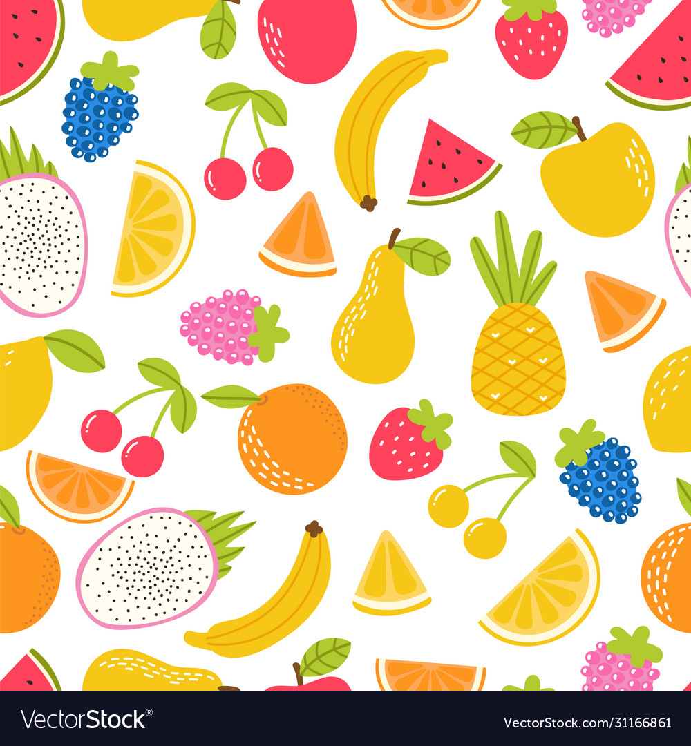 Seamless pattern with cute fruit summer tropical