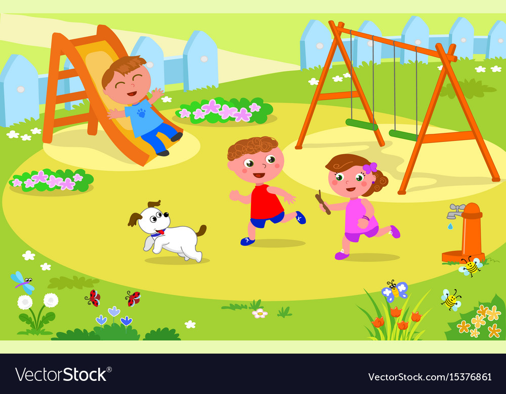 Three kids playing at the playground vector image