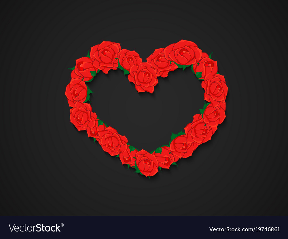 Wreath of red roses in heart shape on dark vector image