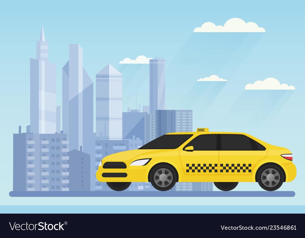 Yellow modern taxi car on the urban city