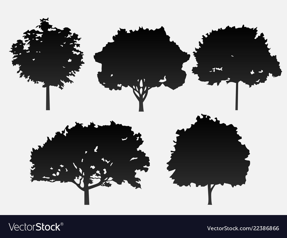 A set of 5 trees in black on a gray backgro