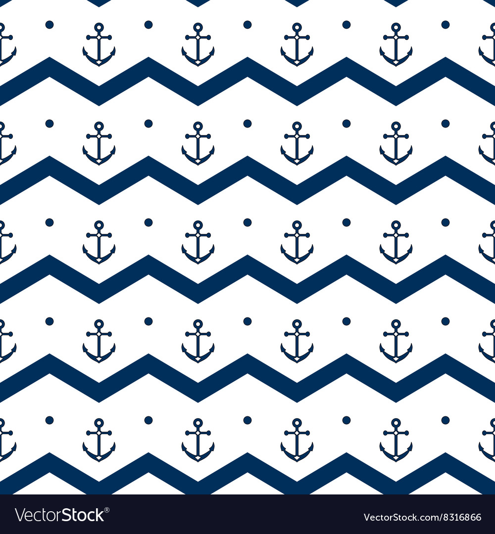 Chevron with anchors in blue and white seamless