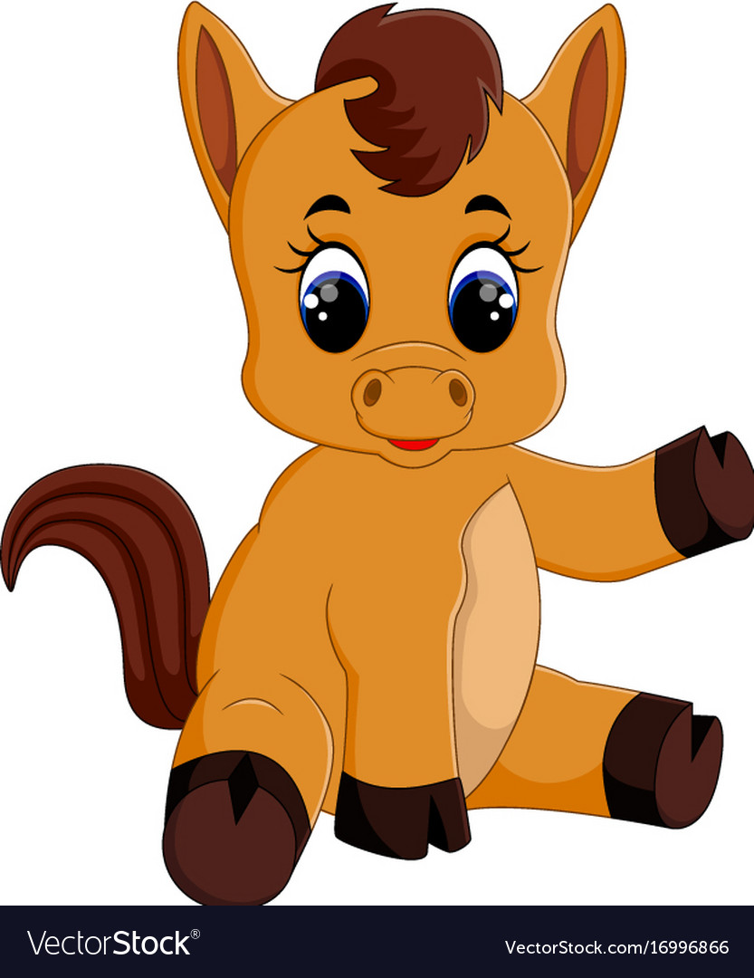 Cute Baby Horse Sitting Royalty Free Vector Image