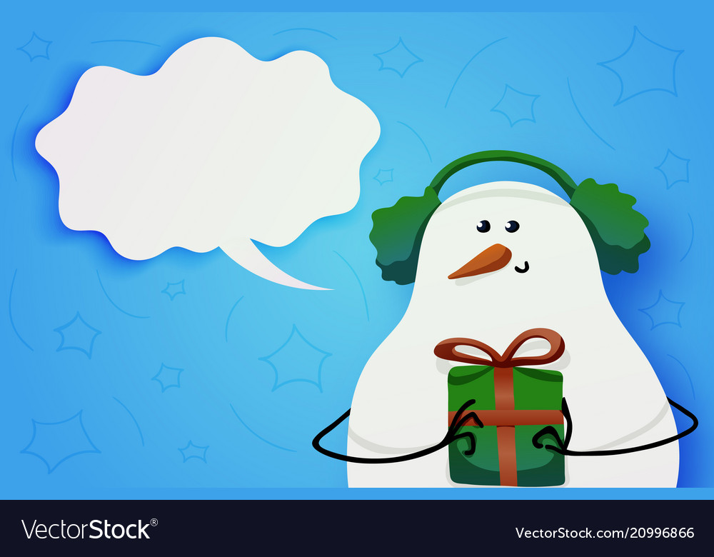 Cute snowman in winter fur headphones and a gift