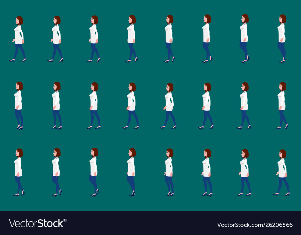 Female doctor walk cycle animation sprite sheet
