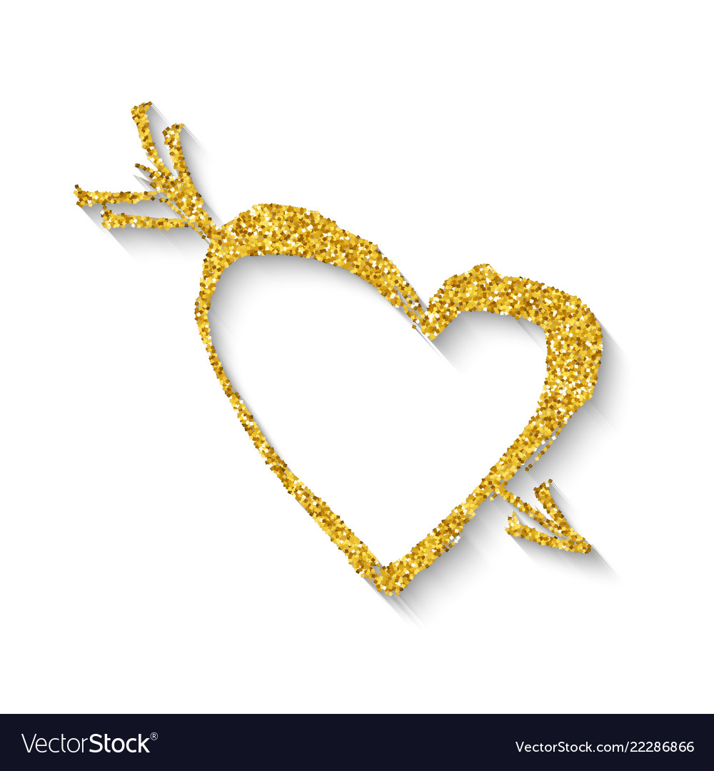 Golden heart with an arrow
