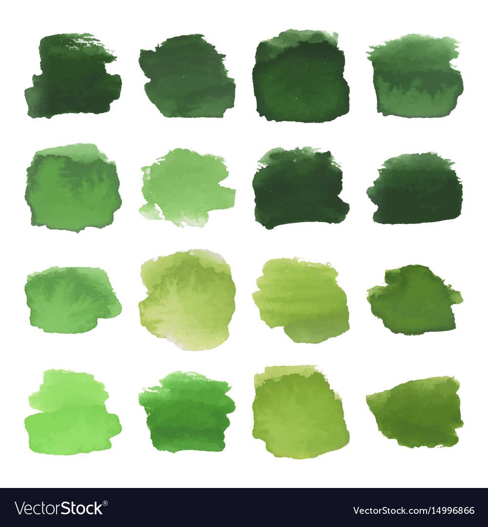 Green blots watercolor set