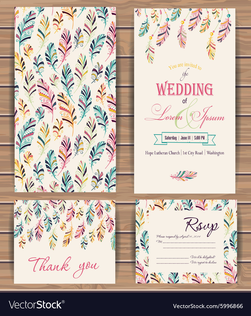 Greeting cards with feather vector image