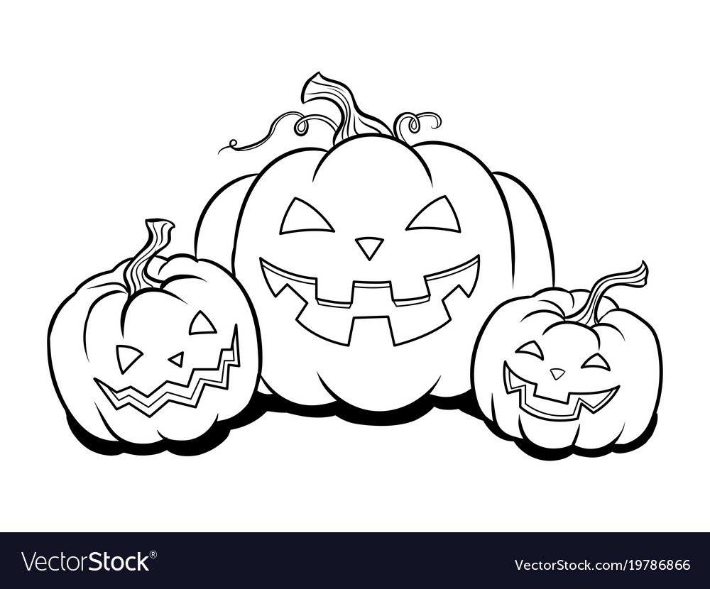 Halloween pumpkin coloring book Royalty Free Vector Image